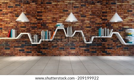 3d render of minimalist shelf over brick wall background, modern art, minimalist design. - stock photo