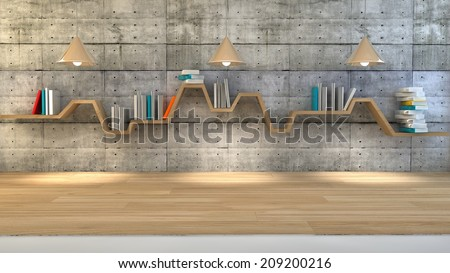 3d render of minimalist shelf over dramatic concrete background, modern art, minimalist design. - stock photo