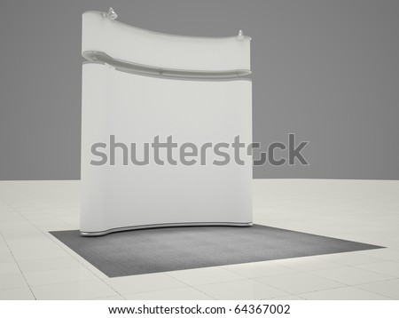 3D render of mobile exhibition stand - stock photo