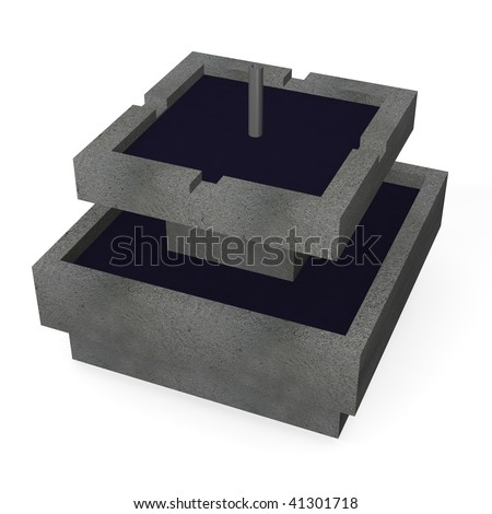 3d render of modern fountain - stock photo