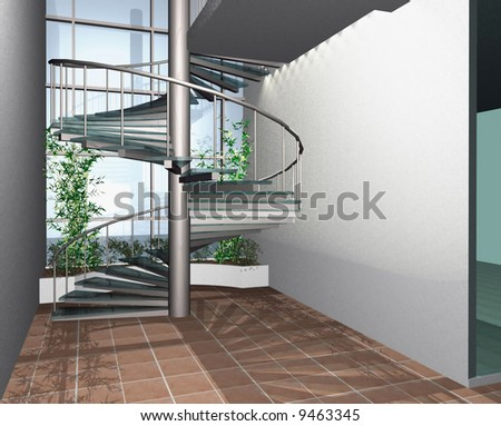 3D render of modern house building interior with circle stairs