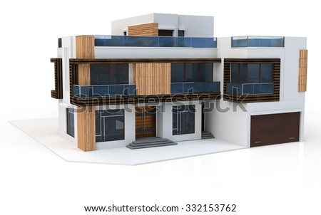 3d render of modern house on white background  - stock photo