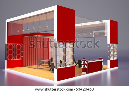 3d render of modern red exhibition stand.Perspective. - stock photo