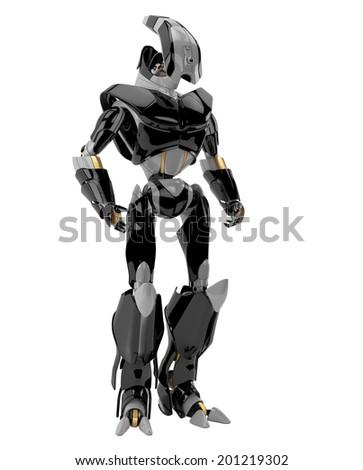 3d render of modern robotic soldier / Stylish futuristic warrior - stock photo