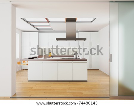 3d render of modern white kitchen