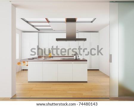 3d render of modern white kitchen - stock photo