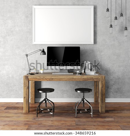 3d render of modern workplace setup - stock photo