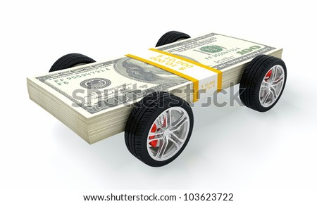 3D render of money car on white background