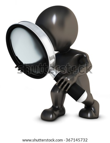 3D Render of Morph Man searching with magnifying glass