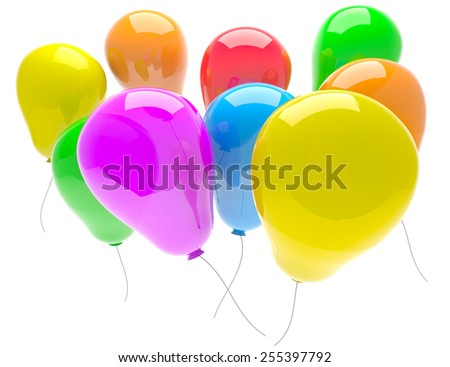 3d render of multicolor party balloons isolated on white background