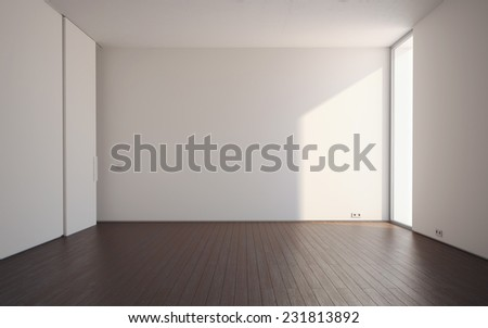 3d render of new empty room without any furniture - stock photo