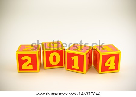 3d render of new year 2014 - stock photo