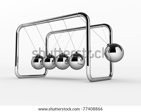 3D render of Newton's cradle on white background - This is a 3d render illustration - stock photo