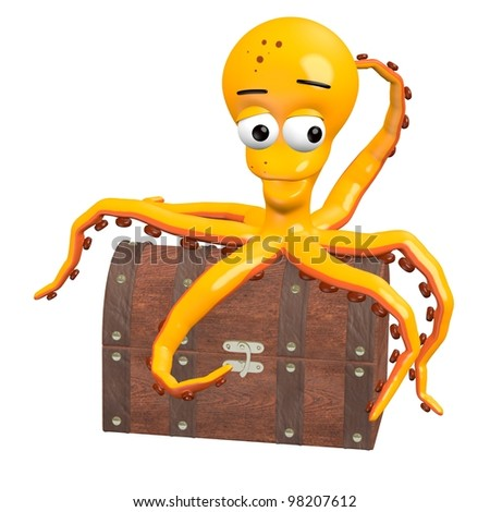 3d render of octopus character - stock photo