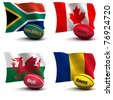 3D Render of 4 of the 20 participating nations in the rugby world cup. Ball colors depict the colors the team usually wears. South Africa, Canada, Wales, Romania - see other images for other teams - stock photo