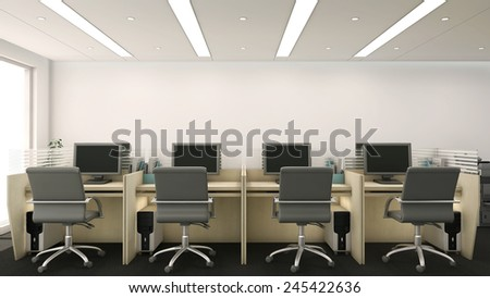 3d render of office cubicles with computers and chairs - stock photo