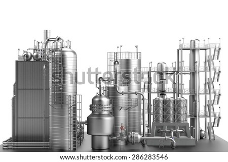 3d render of oil refinery - stock photo