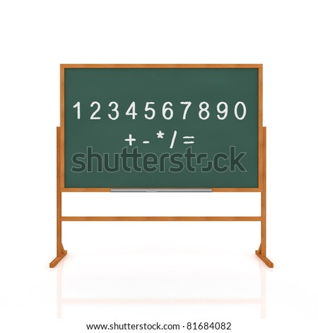 3d render of old school blackboard with digits isolated on white background - stock photo