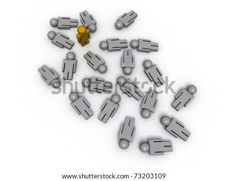 3d render of one man standing while the others are lying on the ground