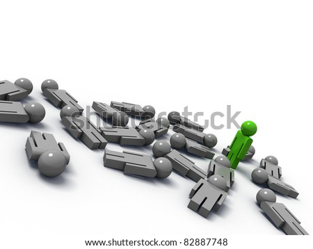 3d render of one man standing while the others are lying on the ground - stock photo