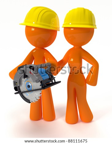 3d Render of Orange Man and Woman with hard hats and a table saw, contractors or do it yourself home builders.