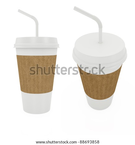 3d render of paper cup with white tibe isolated on white - stock photo