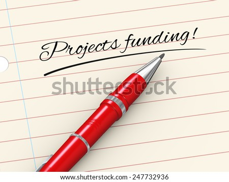 3d render of pen on paper written projects funding - stock photo
