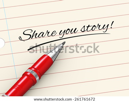 3d render of pen on paper written share your story - stock photo