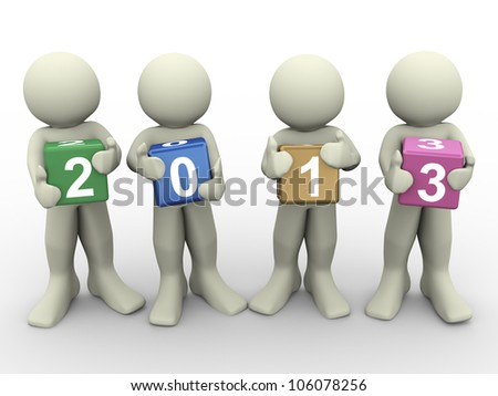 3d render of people holding colorful text box of new year 2013. 3d illustration of human character. - stock photo