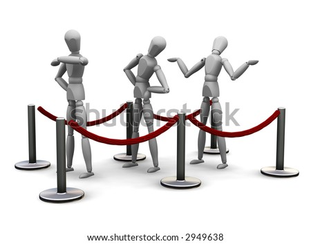 3D render of people waiting in a queue - stock photo