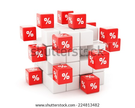 3d render of percent dices flying. Finance concept