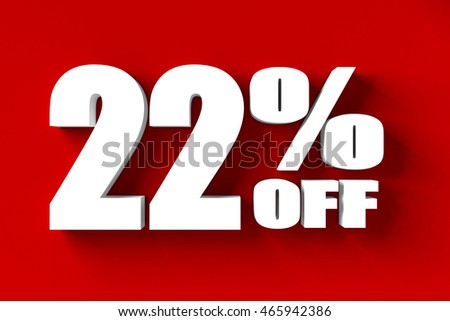 3d render of 22 percent off in red background