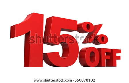 3d render of 15 percent off sale text isolated over white background
