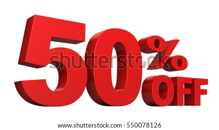 3d render of 50 percent off sale text isolated over white background