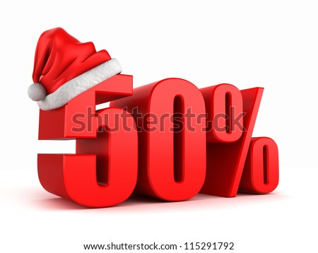 3d render of 50 percent with santa hat - stock photo