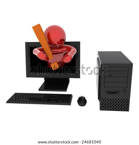 3d render of person in computer with exclamation mark. Isolated on white background.