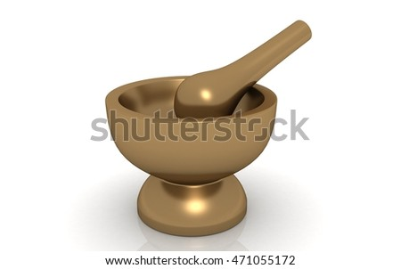 3D render of Pharmacy golden Mortar and Pestle on white background