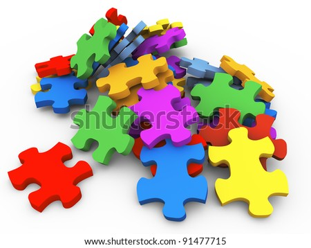3d render of pile of puzzle pieces
