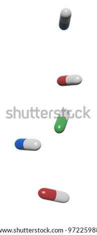 3d render of pill (capsules), isolated on white background