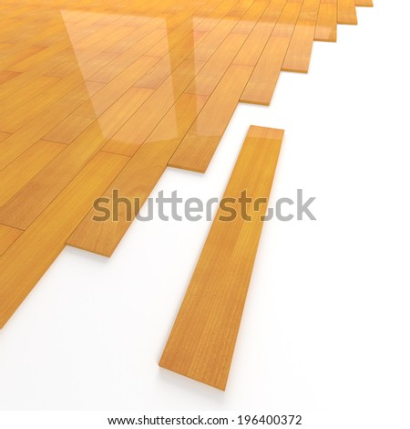3d render of pine wood floor tiling assembly - stock photo