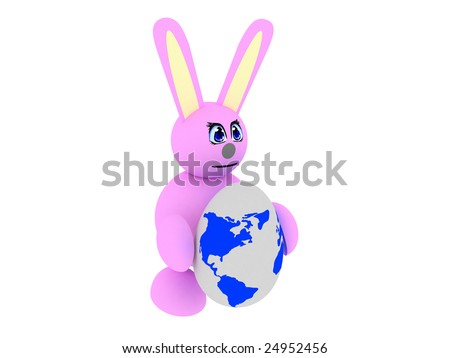 3d render of pink bunny with an earth-textured egg. Isolated on white background. - stock photo