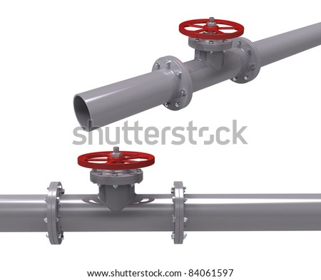 3d render of pipe with the valve on a white background - stock photo