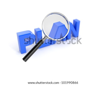 3d render of plan concept with magnifying glass - stock photo