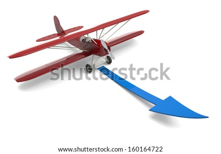 3d render of plane and arrow