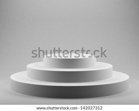 3d render of podium over grey background - stock photo
