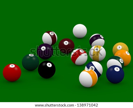 3d Render of Pool Balls Scattered on a Pool Table