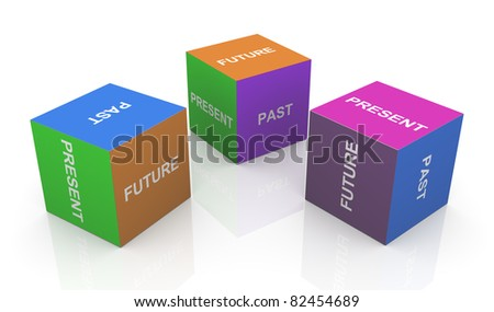 3d render of present, past and future word cubes - stock photo