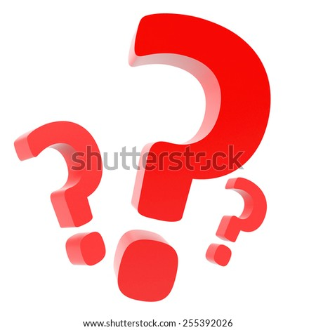 3d render of question mark on white background - stock photo