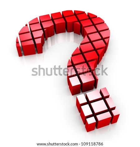 3d render of question mark symbol made of cubes blocks - stock photo