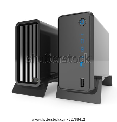 3d render of rack server data storage isolated on white background - stock photo